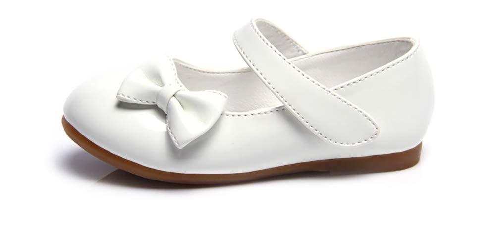 Femizee Girls Mary Jane Shoes Bow-Knot Wedding Party School Dress Ballet Flat(Toddler/Little Kid),White,1525 CN21 by Femizee (Image #3)