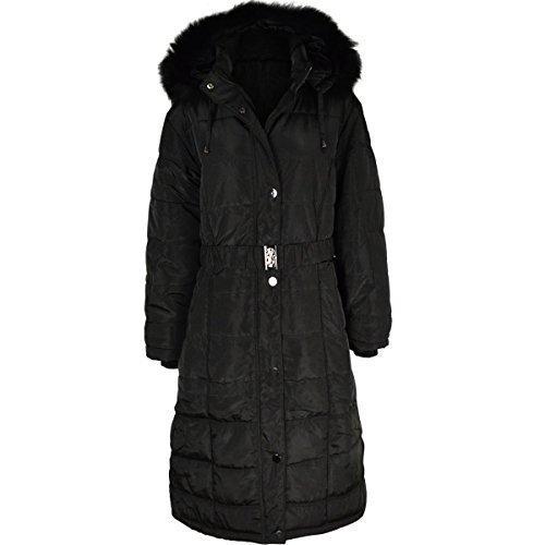 Manteau long d'hiver - rembourr/matelass - capuche  fourrure - femme Noir / bord en fausse fourrure