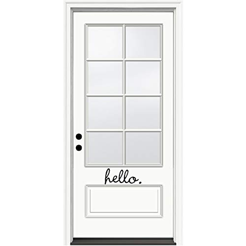 Sticker Wall Lettering Decal (Front door sticker - HELLO - inspirational wall quotes sayings vinyl decals art (Black))