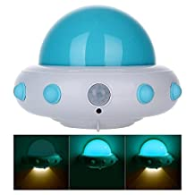 niceEshop(TM) Kids Small Night Light with Timer Plug in Wall Night Lamp for Children, Remote Control for 3 Lighting Mode, 5 Bright Degree, Timing 10/30min(Blue)