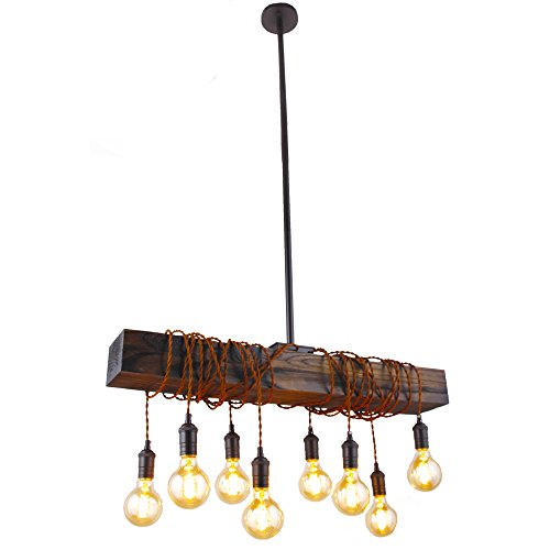 Farmhouse Style Light Fixture Wrapped Wood Beam Antique Decor Chandelier Pendant Lighting Kitchen Bar Industrial Island Billiard and Edison Bulb Decor. Natural Reclaimed Style Wooden