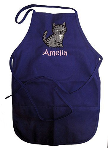 Personalized Child's Chef Apron with Embroidered Tabby Cat - Available in Two Sizes and a Multitude of Colors