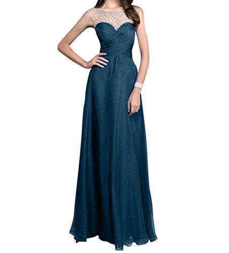 Brautjungfernkleider A Linie Abendkleider Charmant Blau Rock Chiffon Langes Dunkel Blau Pailletten Royal Damen Partykleider Y1vw1z0q