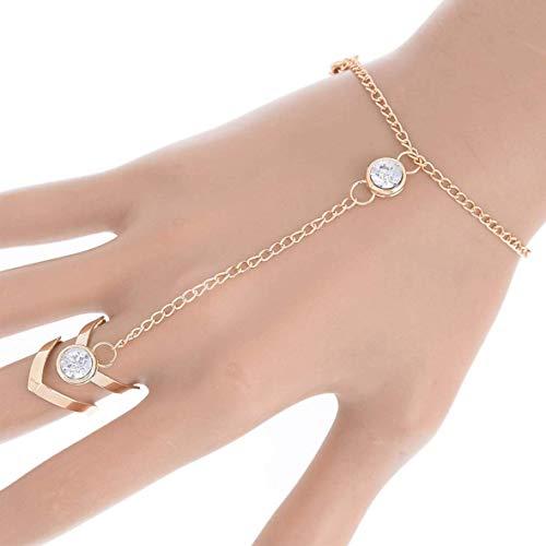 Fashion Glitter Rhinestone Hand Bracelet Slave Chain Link Finger Ring Gold Gift