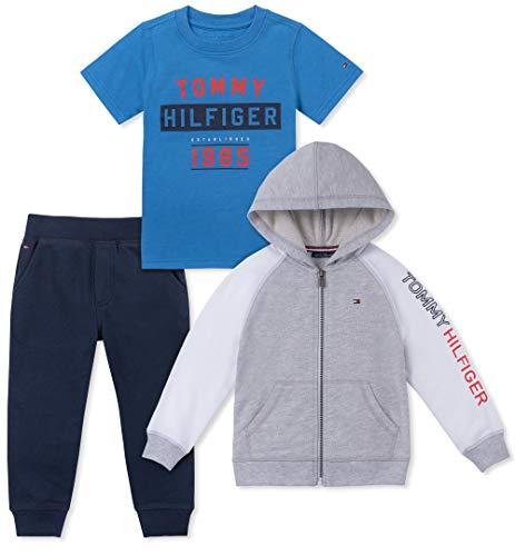 Tommy Hilfiger Baby Boys 3 Pieces Jog Set, Gray/Blue/Navy, 3-6 Months (Newborn 5 Piece Set)