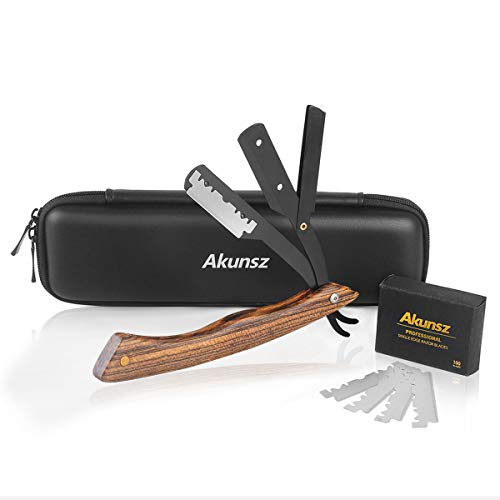 Straight Edge Razor AKUNSZ Professional Black Barber Straight Razor with 100 Single Edge Razor Blades and Barbers Razor Case Garapa wooden Handle
