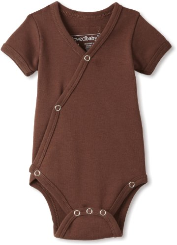 (L'ovedbaby Unisex-baby Newborn (up to 7 lbs.) Short Sleeve Kimono Bodysuit, Out-on-the-town Brown, Newborn (up to 7 lbs.))