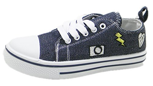 Kids Sneakers Tie up Slip on Canvas with Laces for Children- Girls and Boys Youth (3 Kids, Dark Denim with Patches)