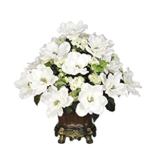 House of Silk Flowers Artificial White Magnolia with Snowball in Brown Traditional Urn 6