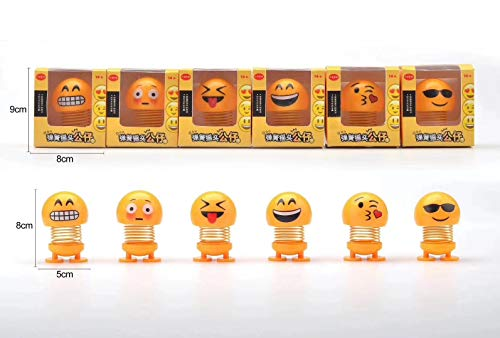 (DEVILFACE Cute Emoji Bobbleheads Shaking Head Dolls, Funny Smiley Face Springs Dancing Toys for Car Dashboard Ornaments, Party Favors, Gifts, Home Decorations (6PS Style 2))