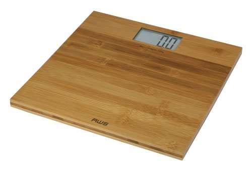 AWS 330ECO Digital Bathroom Scale, 11.8'x11.8', Large LCD Display (1.7'x3.2'), Bamboo