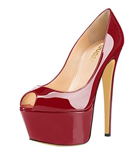 rojo tacón con Mujer oscuro Guoar Zapatos wva0IqExSn