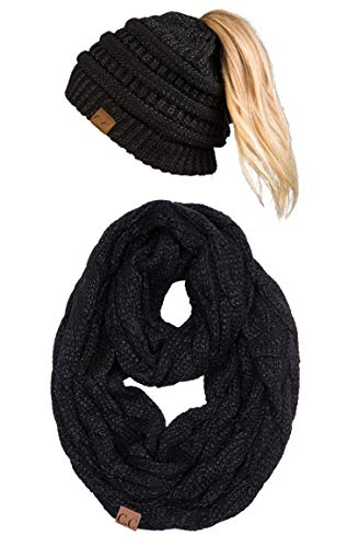 (cBT-6020a-9006 Messy Bun Beanie Tail Matching Scarf Bundle - Black (Metallic))