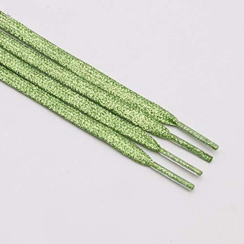 JWJY グリッター靴ひもシャイニーファッションキラキラ靴ひもクリスマスカラーのシックなきらめく7ミリメートルメタリックBootlaces (Color : 2361 Grass green, Length : 140CM)