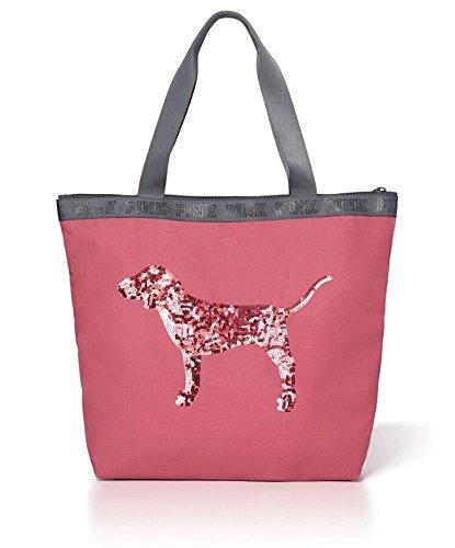 Victorias Secret Bling Sequin Dog Zip Top Tote  Soft Begonia Pink