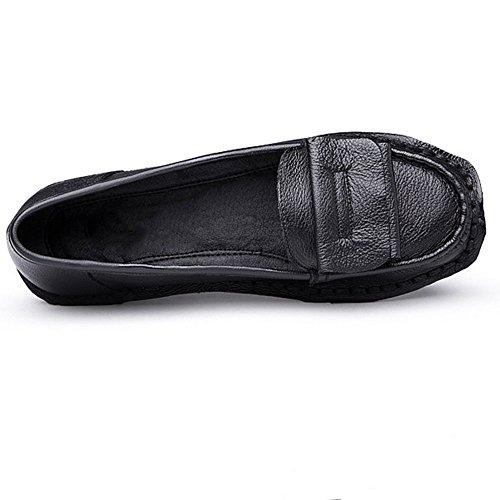 Cybling Zachte Dameszool Loafers Comfort Outdoor Rijden Enkele Schoenen Voor Moeder Zwart