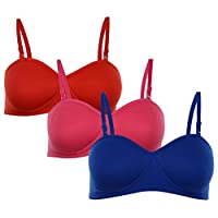 Softskin Women's Cotton Demi-Cup T-Shirt Padded Bra - Pack of 3