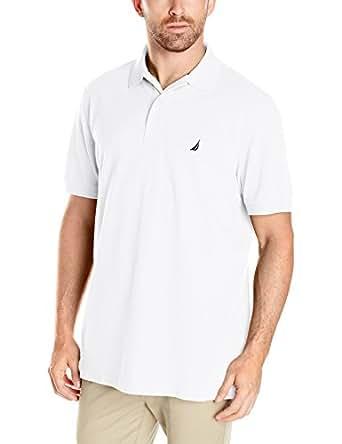 Nautica Men's Standard Short Sleeve Solid Cotton Pique Polo Shirt, Bright White, Small