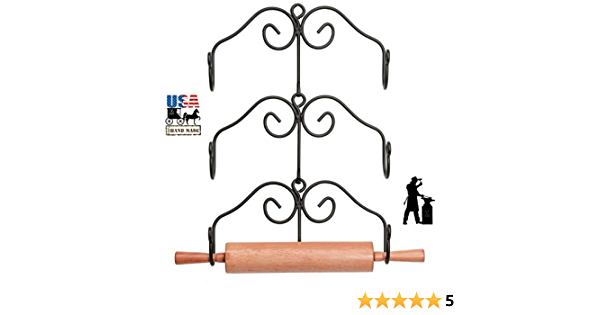 Three Hand Forged Heavy Duty Wrought Iron Racks Amish Blacksmith Handcrafted /& Made in the USA 3 ROLLING PIN RACK SET