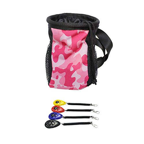 Ondoing Dog Training Clicker with Wrist Strap and Dog Treat Pouch with Adjustable Strap 1 Clicker + 1 Pink Camo Pouch by Ondoing