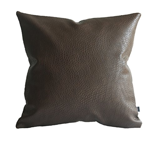 Kdays Faux Leather Elephant Brown Pillow Cover Throw Pillow Cover Solid Pillow Cover Solid Cushion Cover 20x20 Inches (Leather Cushion Covers)
