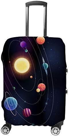 スーツケースカバー トラベルケース 荷物カバー 弾性素材 傷を防ぐ ほこりや汚れを防ぐ 個性 出張 男性と女性太陽を取り巻く惑星