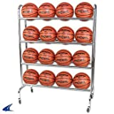 Champro 12 Ball Rack with Casters, Upright (Silver, 41 x 17 x 41)