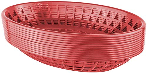 (Bear Paw Products - Plastic Food Baskets - Oval Baskets - 12 Pack - Perfect for Fries, Burgers, Sandwiches, and More!)