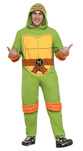 Ninja Turtle Onesie Costume (Adult size Michelangelo TMNT Hooded Fleece Jumpsuit - Pajama - Small)
