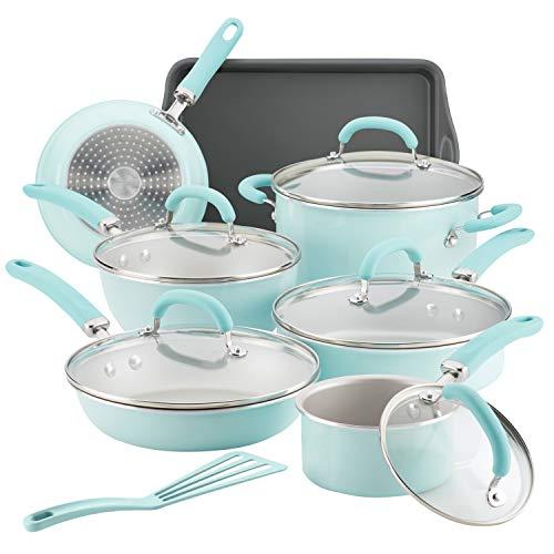 Rachael Ray 12146 Create Delicious Nonstick Cookware Pots and Pans Set, 13 Piece, Light Blue Shimmer