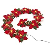 Homeseasons Pre-Lit Velvet Artificial Poinsettia 72 Inch Garland with Red Berries and Holly Leaves - Battery Operated LED Christmas Garland (Gold Glittered)