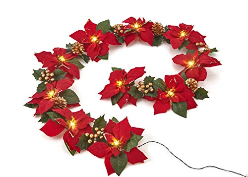 (Homeseasons Pre-Lit Velvet Artificial Poinsettia 72 Inch Garland with Red Berries and Holly Leaves - Battery Operated LED Christmas Garland (Gold)
