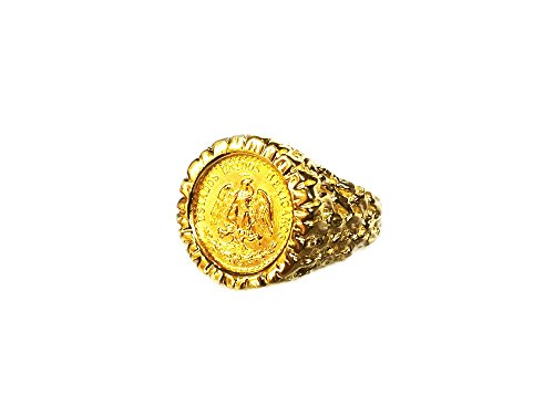 - 14K Yellow Gold 16 Mm Coin Ring With A 22K Mexican Dos Pesos Coin-Random Year Coin