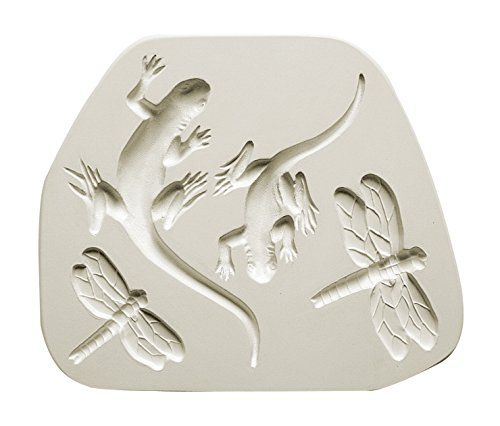 AMACO Salamander and Dragonfly Sprig Mold, 8-1/4 x 7 Inches