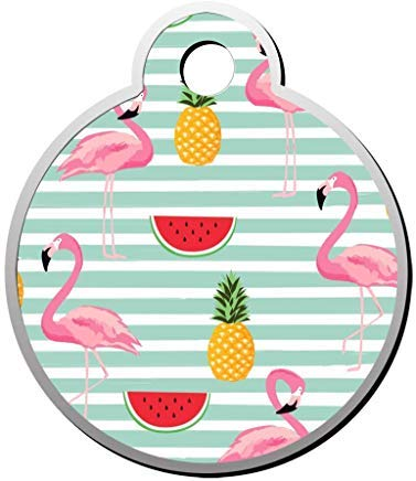 Flamingo Pineapple Watermelon Personalized Round Pet Id Tag Funny Pet Coller Tag Dog Tag Novelty for Pet Lovers