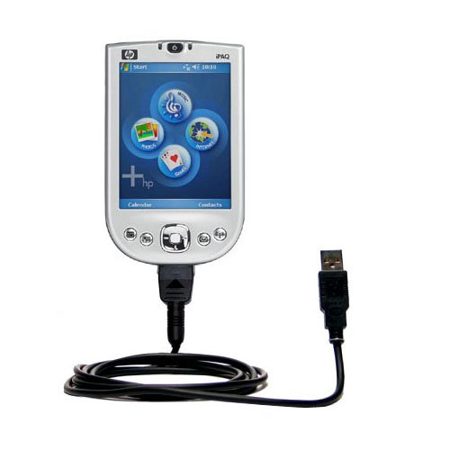 USB Data Hot Sync Straight Cable designed for the HP iPAQ rx1955 / rx 1955 with Charge Function _ Two functions in one unique Gomadic TipExchange enabled cable