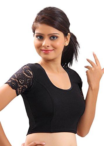 Stretchable Black Ready-made Saree Blouse Sari Choli Lycra Crop Top - L - Choli Sari