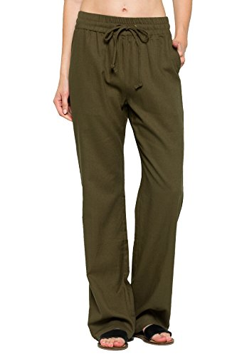 My Yuccie Women's Casual Comfy Drawstring Linen Pants Long with Band Waist (S – 3XL)
