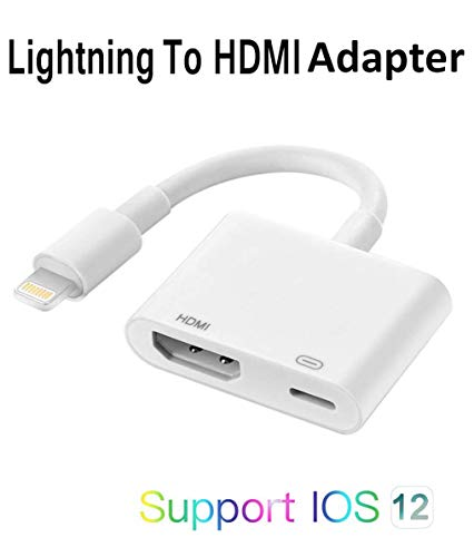 1080P HD Digital AV Adapter Compatible with iPhone iPad to HDMI Adapter Cable, HDMI Converter Compatible with iPhone Xs MAX XR X 8 7 6 Plus iPad to HDTV Projector Support 8.0-12.4 and Later (White)