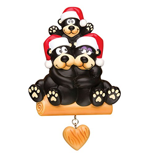 Personalized Black Bear Family of 3 Christmas Tree Ornament 2019 - Hug Parent Kid sit on Log Dangle Heart Red Santa Hat Gift Holiday Fun Activity Tradition Year - Free Customization (Three)