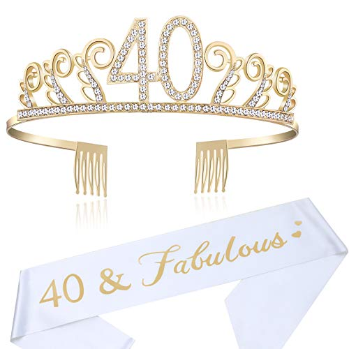 BABEYOND 40th Birthday Tiara and Sash Crystal Happy Birthday Crown and Satin 40 & Fabulous Sash 40th Birthday Party Supplies Rhinestone 40th Princess Crown and Glitter Sash (Set-1) ()