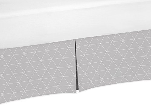 Sweet Jojo Designs Grey Triangle Pleated Toddler Bed Skirt Dust Ruffle for Mountains Collection
