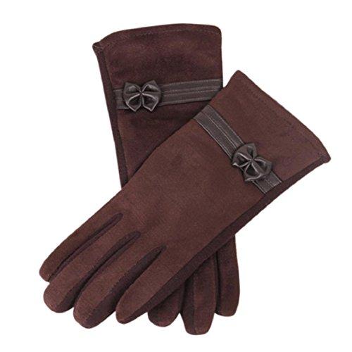 Ikevan Elegant Women's Winter Gloves Touch Screen Suede Cashmere Warm (Womens Snow Walker)