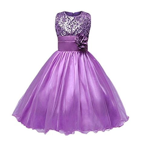 DreamHigh Sequined Flower Girls Party Dress (6, Purple) (Three Purple Flowers)