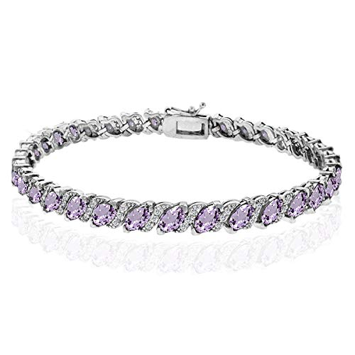GemStar USA Sterling Silver Amethyst Marquise-Cut 6x3mm Tennis Bracelet with White Topaz Accents
