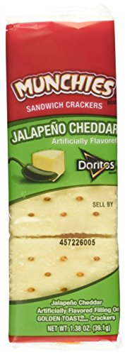 Frito Lay, Munchies, Jalapeno Sandwich Crackers, 11.4oz Box (Pack of 4)