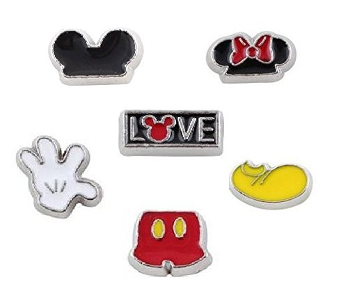 Cherityne Love Mickey Theme Set of 6 Floating Charms for Locket Pendant]()