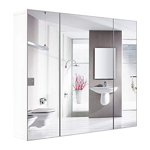 HOMFA Bathroom Wall Mirror Cabinet, 27.6 inches Multipurpose Storage Organizer Medicine Cabinet - With Cabinet Bathroom Mirrors Ikea Lights