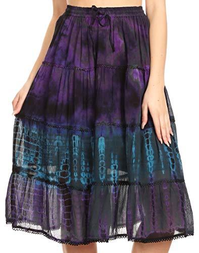 Sakkas 18452 - Antonia Women's Skirt Tie Dye Boho Elastic Waist Adjustable Embroidery - Teal - OS ()