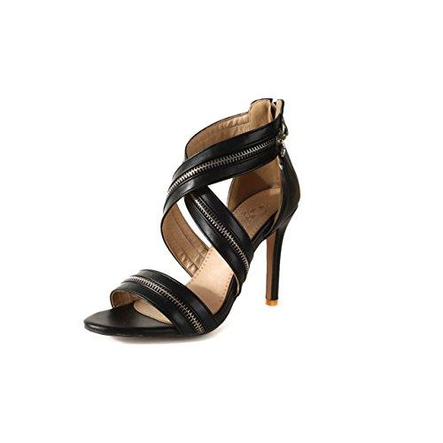 Damen Schuhe Spitz Peep High Heels Sandalen Hohle Ankle Straps Zipper Stiletto Schuhe Sandalen Große Größe 33-46 Damen Sandalen (Color : Rot, Größe : 42) Black